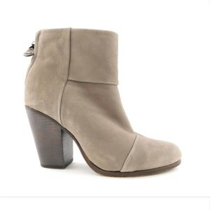 RAG&BONE Light Gray Leather Block Heel Boots 40
